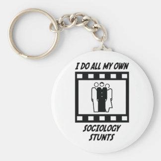 Sociology Stunts Basic Round Button Key Ring