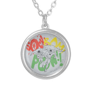 SOCK BAM POW Batman and Robin Silver Plated Necklace