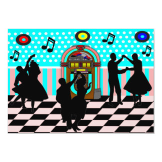 Sock Hop Fifties Dance Theme Party Invitations