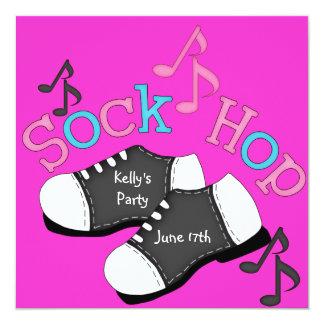 "Sock Hop THEME Party  Invitations 5.25"" Square Invitation Card"