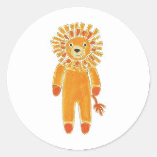 Sock Lion Round Sticker