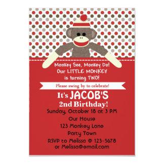 Sock Monkey 2nd Birthday Party invite - customize