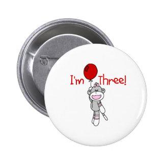 Sock Monkey 3rd Birthday 6 Cm Round Badge