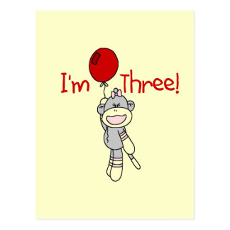 Sock Monkey 3rd Birthday Tshirts and Gifts Postcard