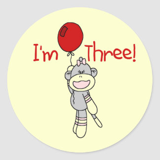 Sock Monkey 3rd Birthday Tshirts and Gifts Round Stickers