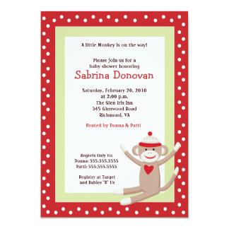 Sock Monkey 5x7 Baby Shower Invitation (Red)