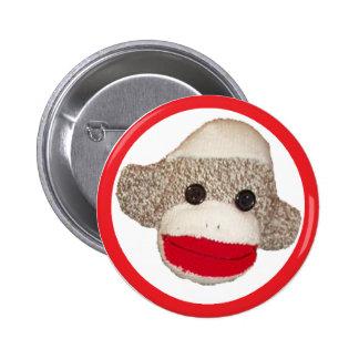 Sock monkey 6 cm round badge