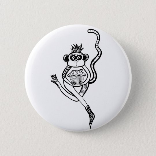 sock monkey 6 cm round badge