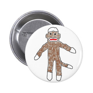 Sock monkey! 6 cm round badge
