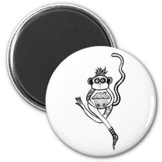 sock monkey 6 cm round magnet