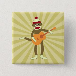 Sock Monkey Acoustic Guitar 15 Cm Square Badge