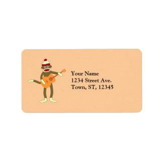 Sock Monkey Acoustic Guitar Address Label