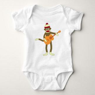 Sock Monkey Acoustic Guitar Baby Bodysuit
