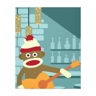 Sock Monkey Acoustic Guitar Canvas Print