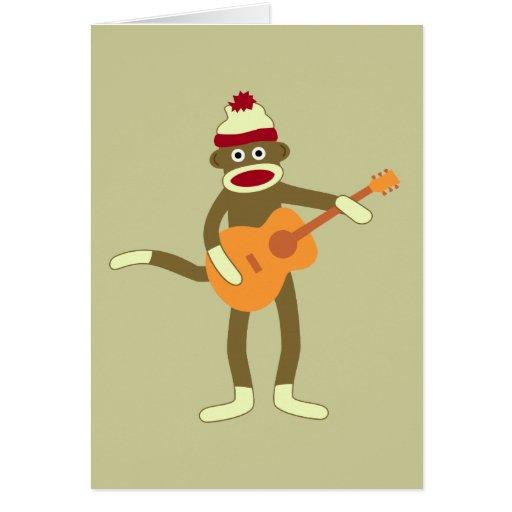 Sock Monkey Acoustic Guitar Card