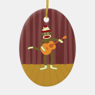 Sock Monkey Acoustic Guitar Christmas Ornament