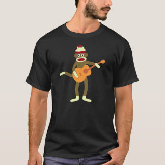 Sock Monkey Acoustic Guitar Dark T-Shirt