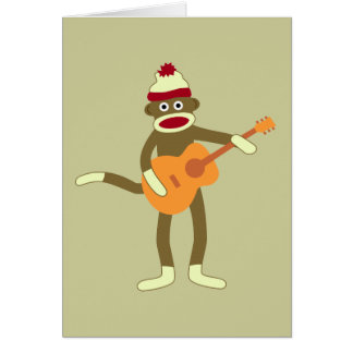 Sock Monkey Acoustic Guitar Greeting Card