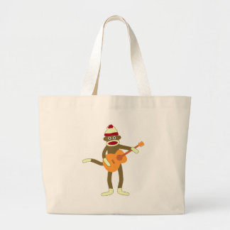 Sock Monkey Acoustic Guitar Large Tote Bag