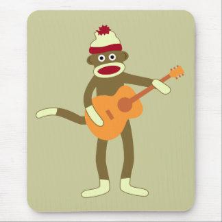 Sock Monkey Acoustic Guitar Mouse Pad