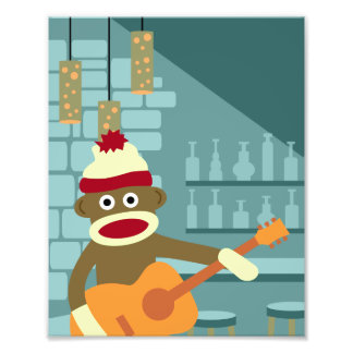 Sock Monkey Acoustic Guitar Photograph