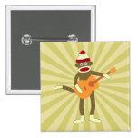 Sock Monkey Acoustic Guitar Pinback Buttons