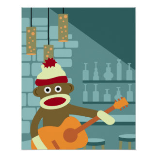 Sock Monkey Acoustic Guitar Poster