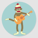 Sock Monkey Acoustic Guitar Round Sticker