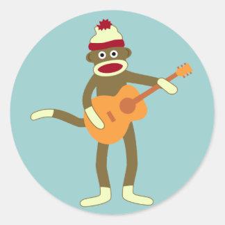 Sock Monkey Acoustic Guitar Round Sticker