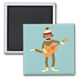 Sock Monkey Acoustic Guitar Square Magnet