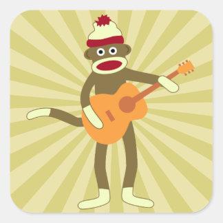 Sock Monkey Acoustic Guitar Square Sticker