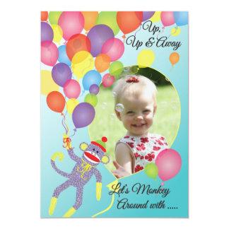 Sock Monkey and Balloons Photo Insert Party Invite