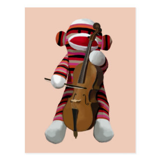 Sock Monkey and Cello 2 Postcard