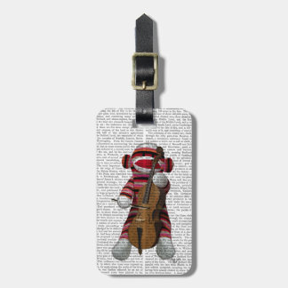 Sock Monkey and Cello Luggage Tag