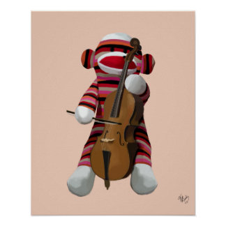 Sock Monkey and Cello Poster