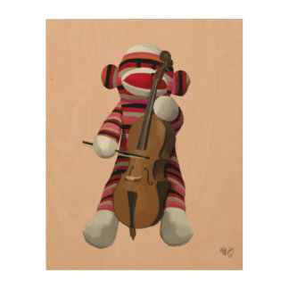 Sock Monkey and Cello Wood Wall Art
