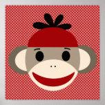 Sock Monkey and Polka Dot Art Poster