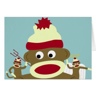 Sock Monkey Angel & Devil Greeting Card