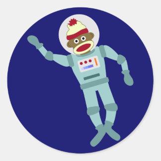 Sock Monkey Astronaut Classic Round Sticker