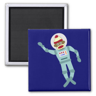 Sock Monkey Astronaut Square Magnet
