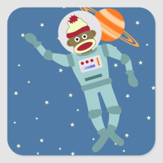 Sock Monkey Astronaut Square Sticker