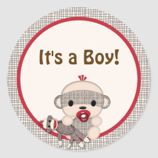 SOCK MONKEY Baby Shower blank Round BOY #5 Round Sticker