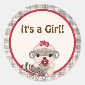 SOCK MONKEY Baby Shower blank Round GIRL #5 Round Sticker