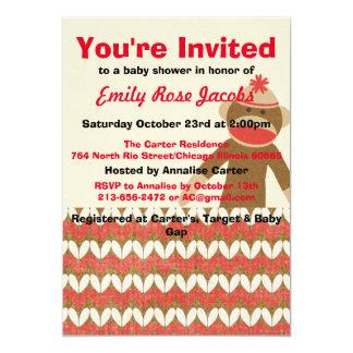 Sock Monkey Baby Shower Card