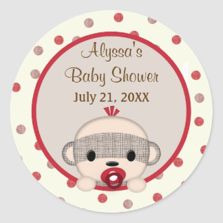 SOCK MONKEY Baby Shower Crib Round BOY #3 Round Sticker