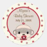 SOCK MONKEY Baby Shower Crib Round BOY #3 Round Stickers