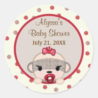 SOCK MONKEY Baby Shower Crib Round GIRL #3 Round Sticker
