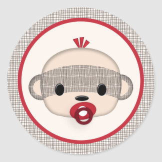 SOCK MONKEY Baby Shower Crib Seal Round BOY #2 Round Sticker