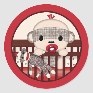 SOCK MONKEY Baby Shower Crib Seal Round BOY Round Sticker