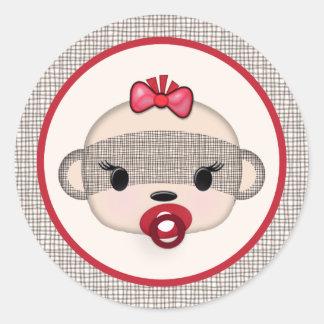 SOCK MONKEY Baby Shower Crib Seal Round GIRL #2 Round Sticker